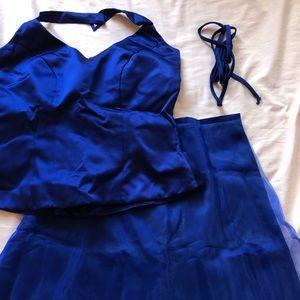 Royal Blue Top & Maxi Skirt Combo